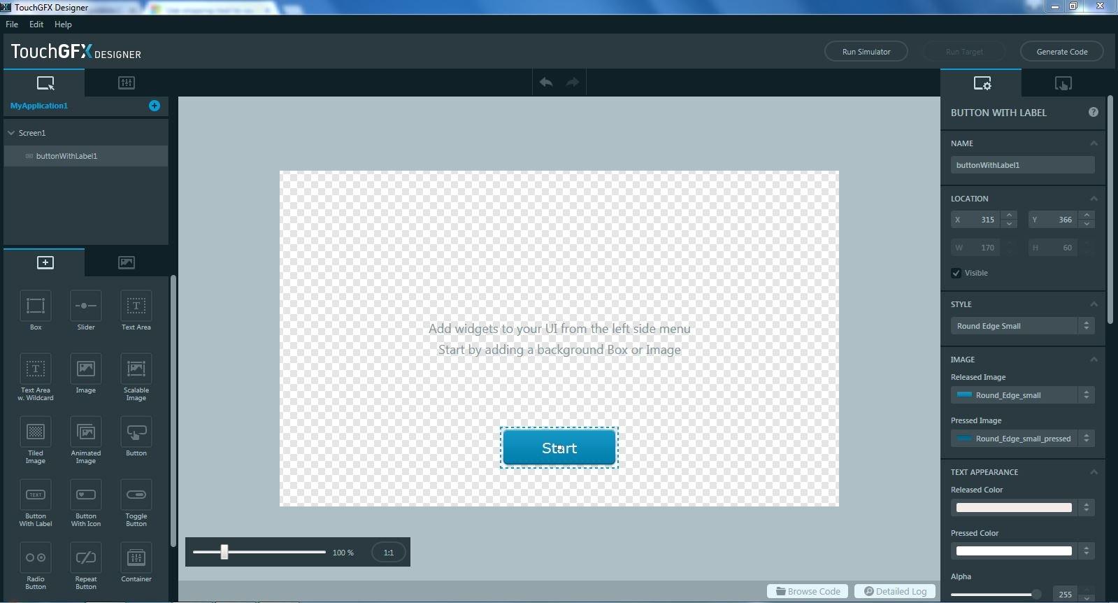 L'outil de conception graphique TouchGFX