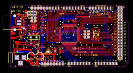 Una scheda Arduino Mega 2560 compatibile.