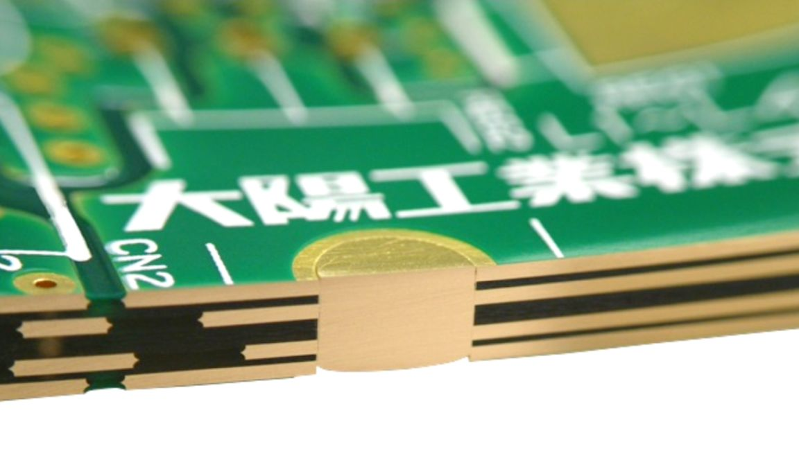 A PCB built with embedded copper coin.