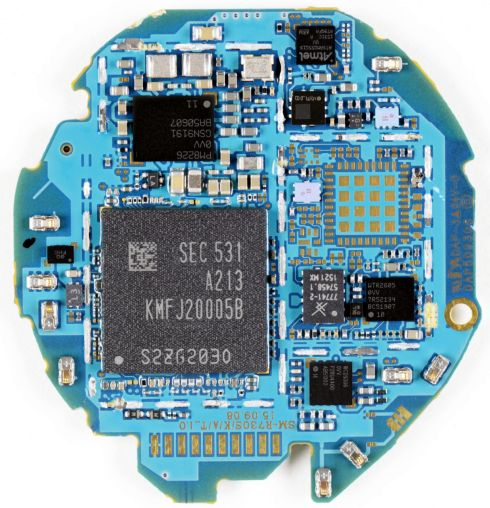 The PCB of a commercial smartwatch