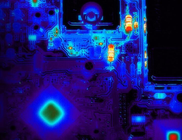 Thermobild einer PCB.